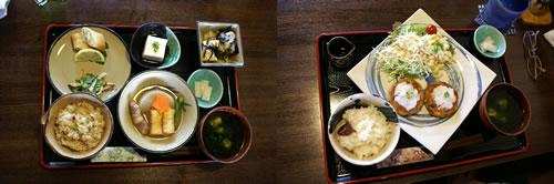 豆腐づくし定食と豆腐ハンバーグ定食